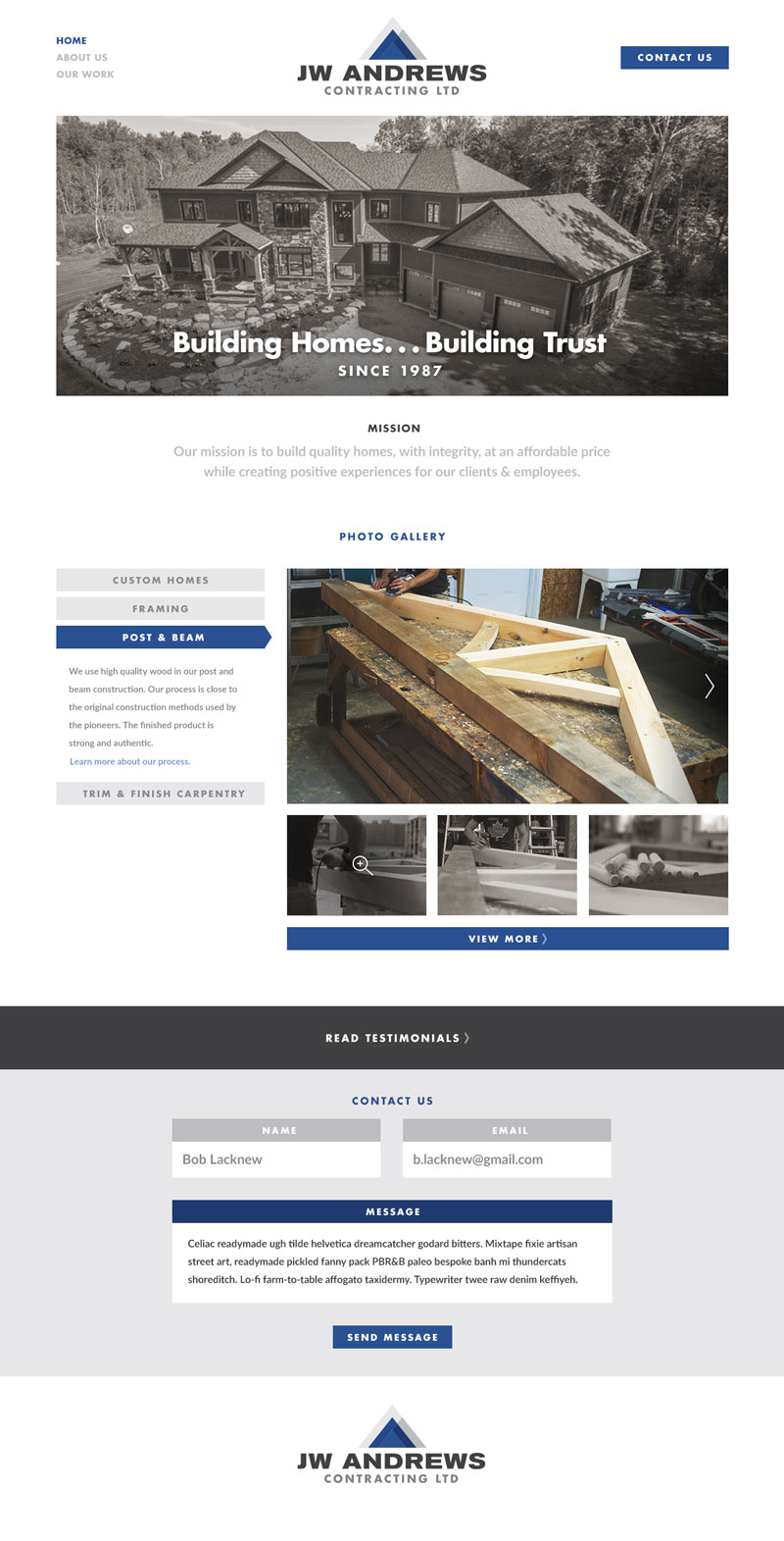 JW Andrews Contracting Homepage